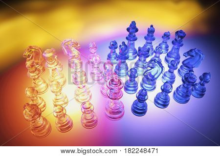 Clear Chess Pieces on Multi Colored Background