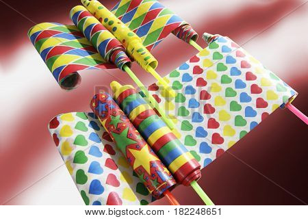 Assorted Party Novelties on Red and Warm Background