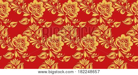 Seamless pattern vector in Russian traditional decor syle. Classic hohloma in red and gold colors. Khokhloma floral ornament