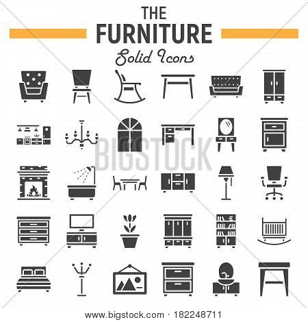 Furniture solid icon set, interior symbols collection, vector sketches, logo illustrations, filled pictograms package isolated on white background, eps 10.