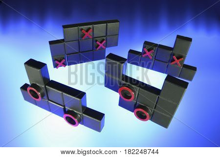 Tic Tac Toe Puzzle on Blue Background