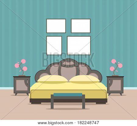 Bedroom living room interior design in flat style including furniture bed and mockup empty frames. Flat vector illustration.