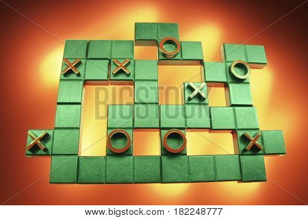 Tic Tac Toe Puzzle on Warm Background
