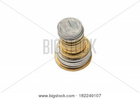 A stack of Ukrainian coins on a white isolated background. Eurovision in Ukraine
