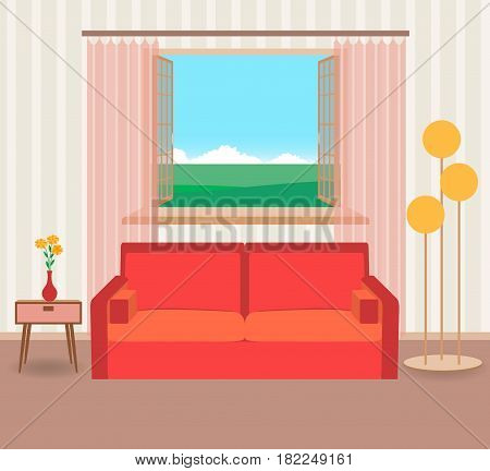 Interior design in flat style of living room with furniture sofa flower lamp and window. Vector illustration.