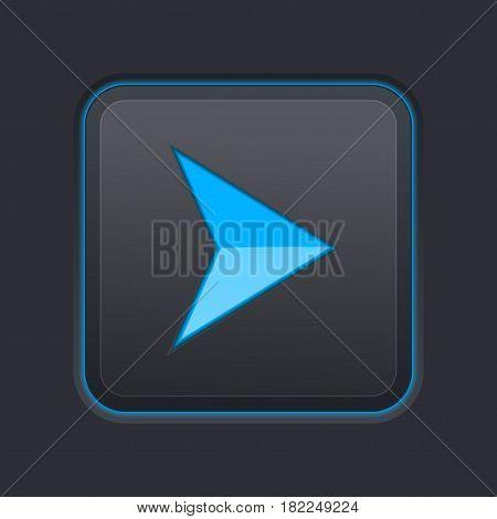 Blue arrow on square black button. Vector 3d illustration