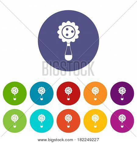 Rattle baby toy icons set in circle isolated flat vector illustration