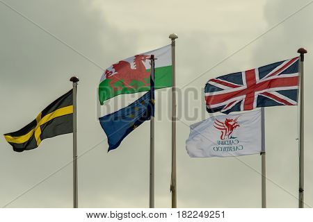 Flags flying at Cardiff Bay, in the Welsh capital. Flag of Saint David the European Union Wales the UK and Cardiff blowing in wind