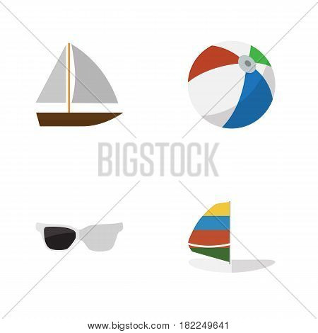 Flat Hot Set Of Surfing, Spectacles, Yacht And Other Vector Objects. Also Includes Eyeglasses, Sailboard, Ball Elements.