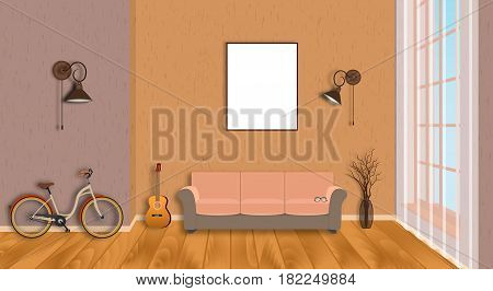 Mockup living room interior with empty frame bicycle guitar wood flooring and window. Loft design concept in hipster style. Vector illustration.