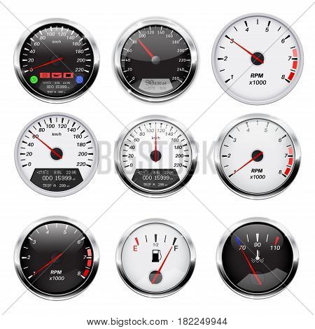 Car dashboard gauges set. Collection of speedometers, tachometers. Vector illustration isolated on white background