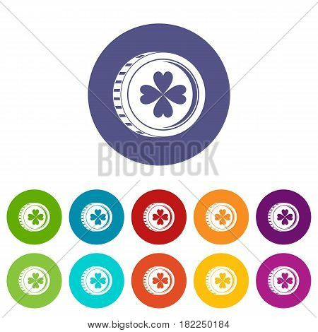 Coin with clover sign icons set in circle isolated flat vector illustration