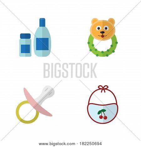 Flat Kid Set Of Nipple, Pinafore, Cream With Lotion And Other Vector Objects. Also Includes Cosmetics, Beanbag, Nipple Elements.