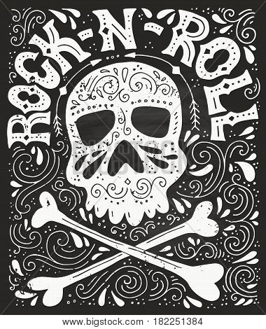 Skull bones and rock n roll handdrawn letterin poster vector typography