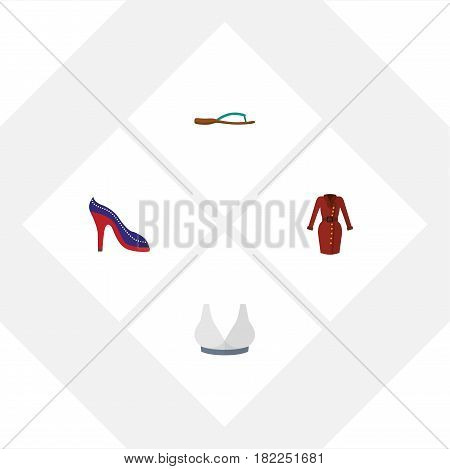 Flat Garment Set Of Heeled Shoe, Beach Sandal, Brasserie Vector Objects. Also Includes Flop, Sandal, Heeled Elements.