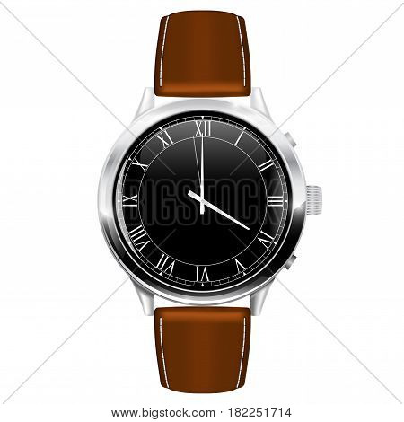 Classic watch with brown leather strap. Vector illustration isolated on white background