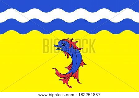 Flag of Isere is a department in the Auvergne-Rhone-Alpes region in the east of France. Vector illustration