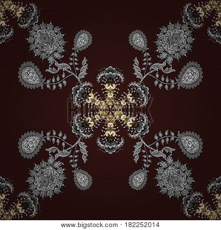 Seamless golden textured curls in oriental style arabesques. Golden pattern on brown background with white doodles. Vector golden pattern.