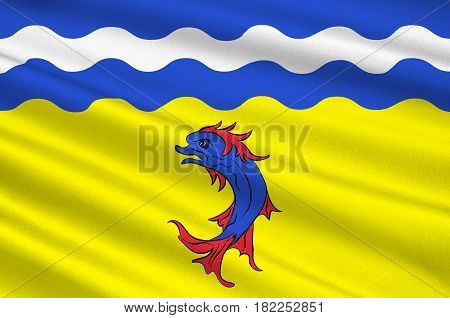 Flag of Isere is a department in the Auvergne-Rhone-Alpes region in the east of France. 3d illustration