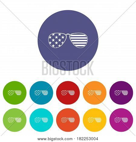 American glasses icons set in circle isolated flat vector illustration