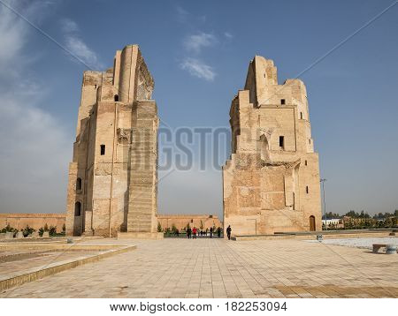 SHAKHRISABZ UZBEKISTAN - OCTOBER 23 2016: The ruins of Ak-Saray Palace is a Grand residence of Timur in his hometown of Shakhrisabz