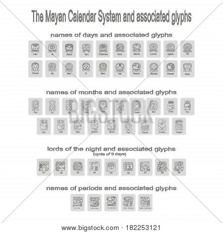 monochrome icons set with Mayan calendar system and associated glyphs for your design