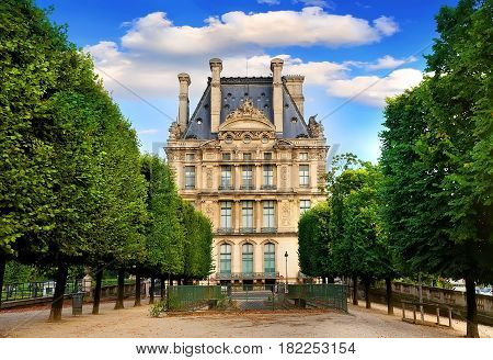 PARIS, FRANCE - AUGUST 26, 2016. View on Musee du Louvre from Terrasse du Bord de l'Eau in Paris, France