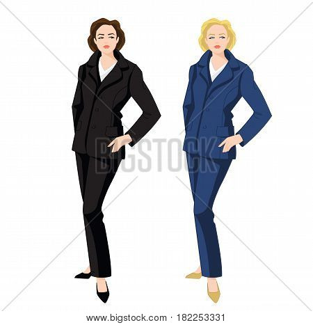Vector illustration of corporate dress code. Business women in blue and black formal suit and classic shoes