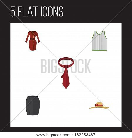 Flat Dress Set Of Elegant Headgear, Cravat, Stylish Apparel And Other Vector Objects. Also Includes Tank, Dress, Tie Elements.