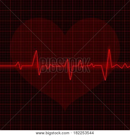 Electrocardiogram. Red waves with heart symbol. Vector 3d illustration
