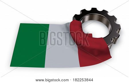 gear wheel and flag of italy - 3d rendering