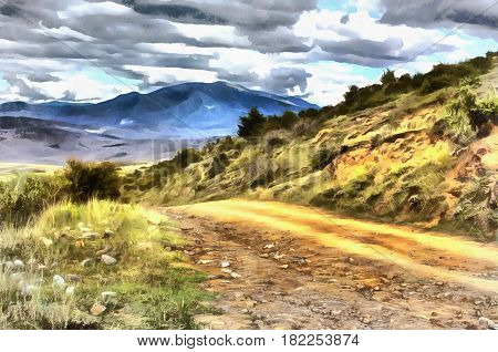 Colorful painting of landscape with road in the Caucasus mountains, Georgia