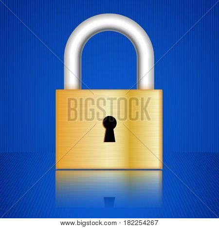 Golden padlock with frontal key hole. Vector illustration on blue background