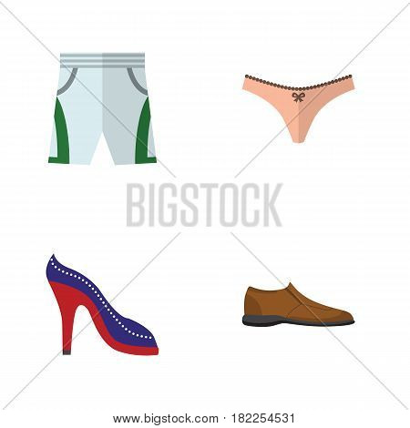 Flat Dress Set Of Heeled Shoe, Lingerie, Male Footware And Other Vector Objects. Also Includes Sandal, Underwear, Lingerie Elements.