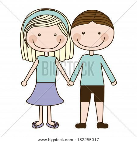 colorful caricature couple in suit informal with taken hands vector illustration