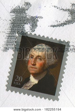 GOMEL, BELARUS, APRIL 17, 2017. Stamp printed in USA shows image of  The George Washington was an American politician and soldier who served as the first President of the United States, circa 2000.