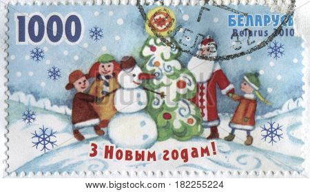 GOMEL, BELARUS, APRIL 18, 2017. Stamp printed in Belarus shows image of  The Xmas, circa 2010.