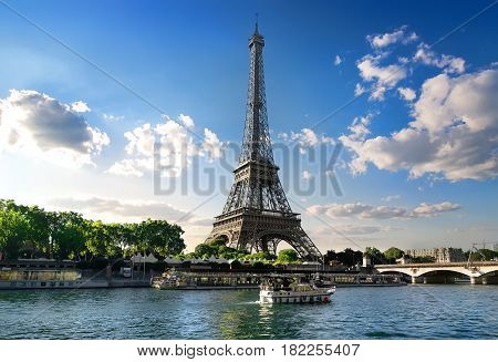 Eiffel tower and river Seine in summer Paris, France