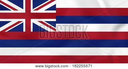 Hawaii Waving Flag. Hawaii State Flag Background Texture.