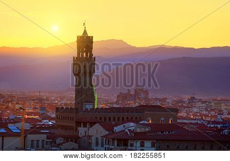 Tower of Palazzo Vecchio and landscape of Florence, Italy