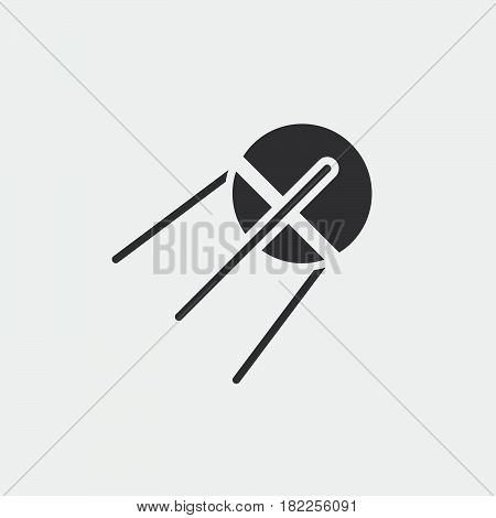 Satellite Solid Icon, Sputnik Vector Illustration, Pictogram Isolated On White