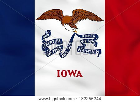 Iowa Waving Flag. Iowa State Flag Background Texture.