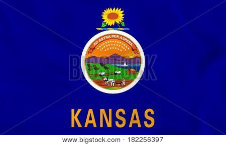 Kansas Waving Flag. Kansas State Flag Background Texture.