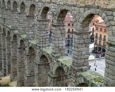 The Stone Arches of Roman Aqueduct of Segovia, UNESCO World Heritage Site in Spain