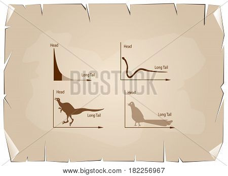 Charts and Graphs Illustration Animal Cartoon of Fat Tailed and Long Tailed Distributions Chart on Old Antique Vintage Grunge Paper Texture Background.