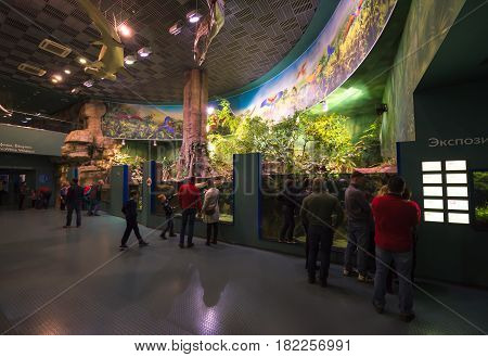 Moscow, Russia. April 16, 2017: Interior of Moskvarium Oceanography and Marine Biology Center at Moscow's VDNKh Exhibition Center. Mosquarium