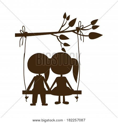 brown silhouette caricature male and female sit in swing hanging from a branch vector illustration