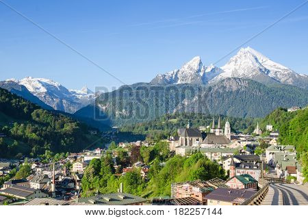 Pastoral landscape of small township Berchtesgaden and snowy peaks of Watzmann mountain in the south of Bavaria