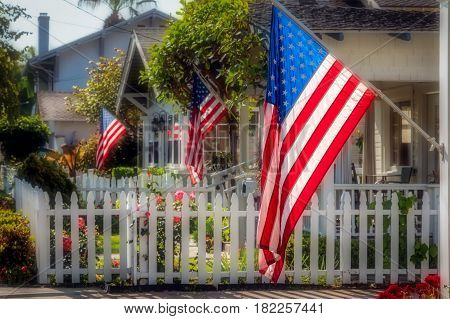 Flag waving on a southern California street.
