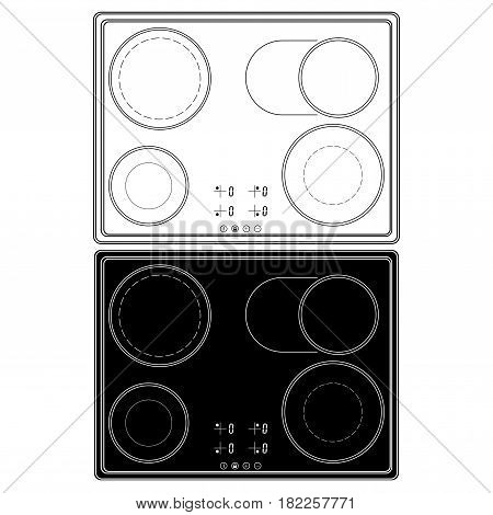 Electric cook top. Vector flat illustration isolated on white background